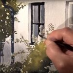 Wet on wet on bushes and a house