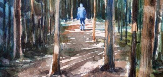 Ensam i skogen, en akvarellövning