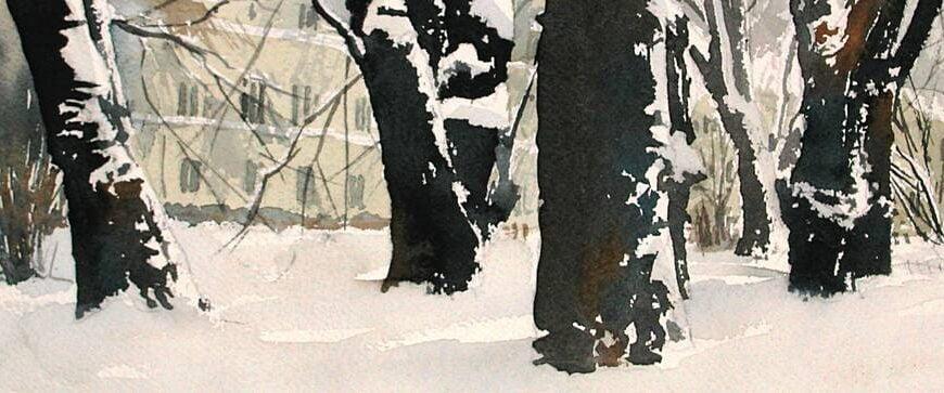 Lundagård i snö